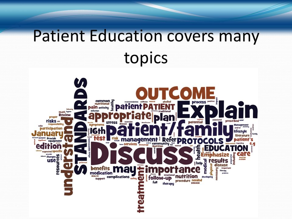 Patient Education covers many topics