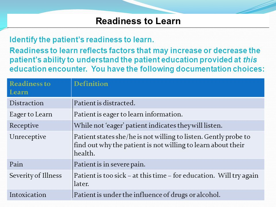 Readiness to Learn Identify the patient's readiness to learn.
