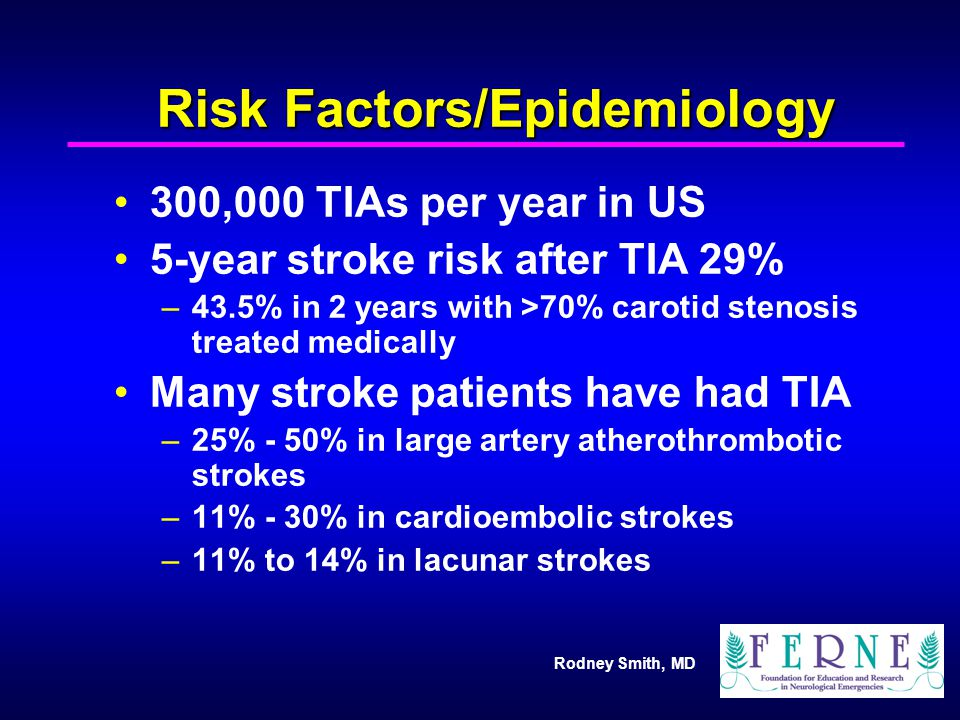 Rodney Smith, MD Risk Factors/Epidemiology 300,000 TIAs per year in US 5-year stroke risk after TIA 29% –43.5% in 2 years with >70% carotid stenosis t