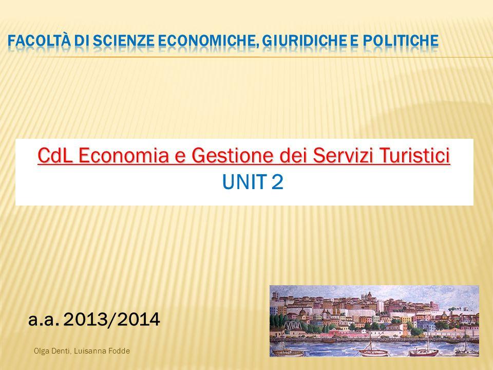 Olga Denti, Luisanna Fodde CdL Economia e Gestione dei Servizi Turistici CdL Economia e Gestione dei Servizi Turistici UNIT 2 a.a.