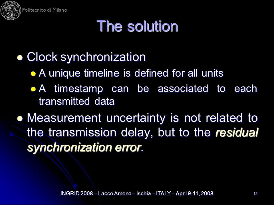 Politecnico di Milano INGRID 2008 – Lacco Ameno – Ischia – ITALY – April 9-11, 2008 12 The solution Clock synchronization Clock synchronization A uniq