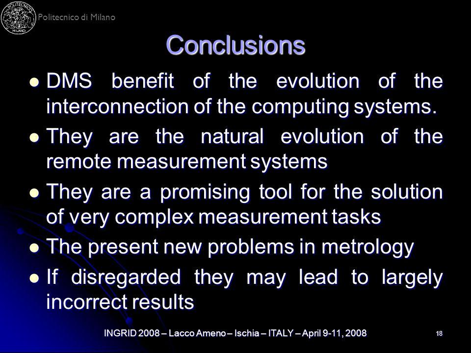 Politecnico di Milano INGRID 2008 – Lacco Ameno – Ischia – ITALY – April 9-11, 2008 18 Conclusions DMS benefit of the evolution of the interconnection
