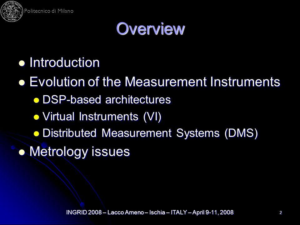 Politecnico di Milano INGRID 2008 – Lacco Ameno – Ischia – ITALY – April 9-11, 2008 2 Overview Introduction Introduction Evolution of the Measurement