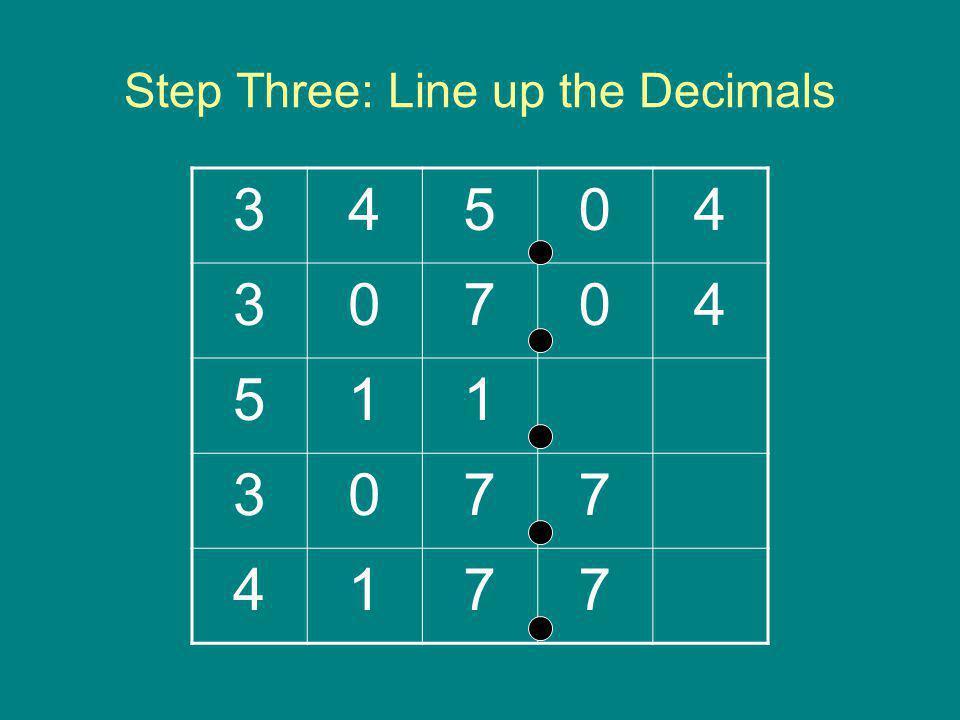 Step Three: Line up the Decimals 34504 30704 511 3077 4177