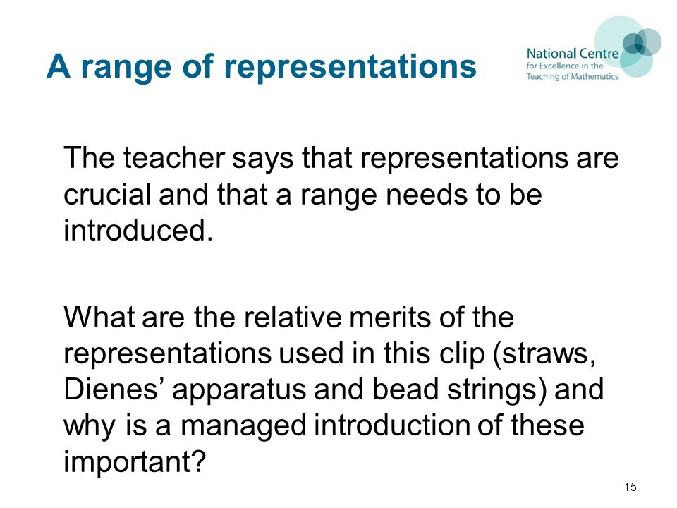 A range of representations The teacher says that representations are crucial and that a range needs to be introduced.