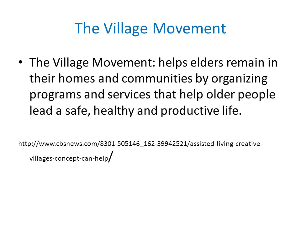 The Village Movement The Village Movement: helps elders remain in their homes and communities by organizing programs and services that help older people lead a safe, healthy and productive life.
