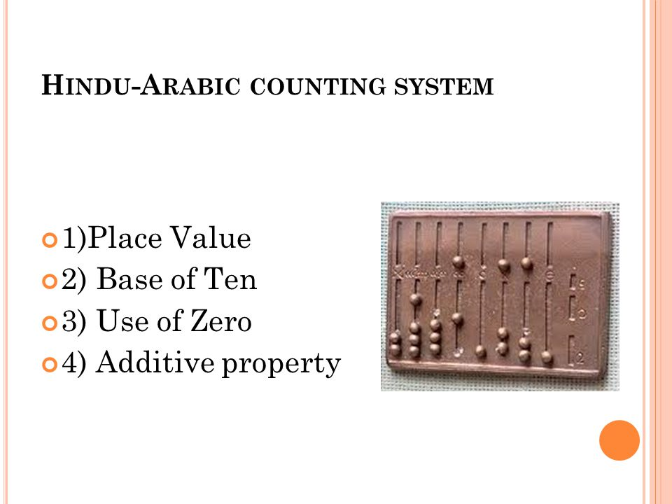 H INDU -A RABIC COUNTING SYSTEM 1)Place Value 2) Base of Ten 3) Use of Zero 4) Additive property