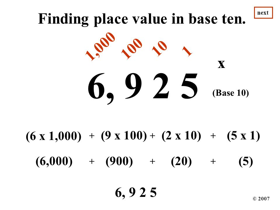 Finding place value in base ten.