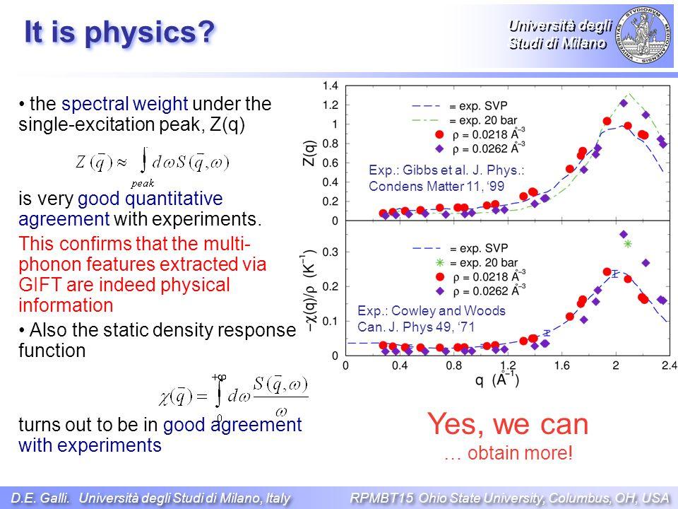Università degli Studi di Milano the spectral weight under the single-excitation peak, Z(q) is very good quantitative agreement with experiments.