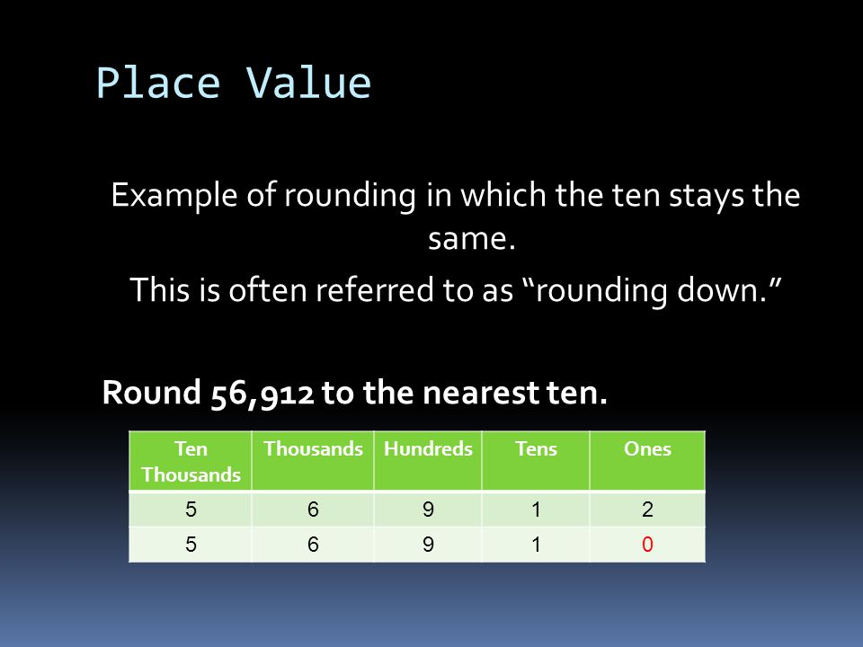 Place Value Example of rounding in which the ten moves up one.