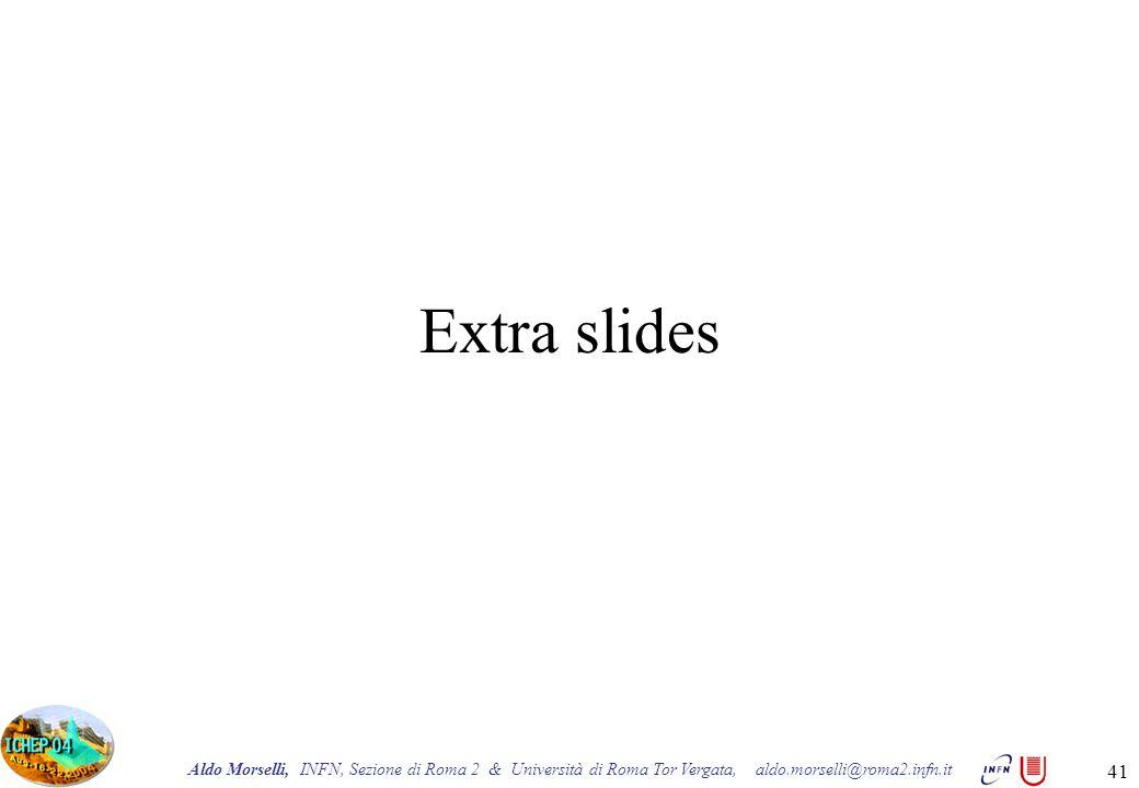 Aldo Morselli, INFN, Sezione di Roma 2 & Università di Roma Tor Vergata, aldo.morselli@roma2.infn.it 41 Extra slides
