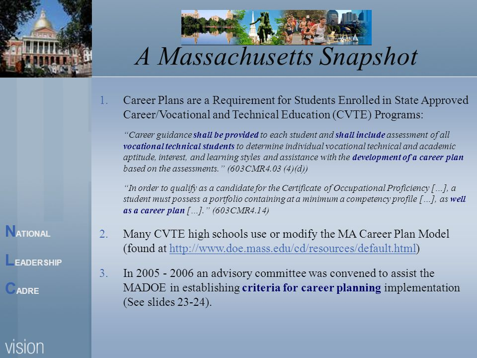 N ATIONAL L EADERSHIP C ADRE A Massachusetts Snapshot 1.Career Plans are a Requirement for Students Enrolled in State Approved Career/Vocational and Technical Education (CVTE) Programs: Career guidance shall be provided to each student and shall include assessment of all vocational technical students to determine individual vocational technical and academic aptitude, interest, and learning styles and assistance with the development of a career plan based on the assessments. (603CMR4.03 (4)(d)) In order to qualify as a candidate for the Certificate of Occupational Proficiency […], a student must possess a portfolio containing at a minimum a competency profile […], as well as a career plan […]. (603CMR4.14) 2.Many CVTE high schools use or modify the MA Career Plan Model (found at http://www.doe.mass.edu/cd/resources/default.html)http://www.doe.mass.edu/cd/resources/default.html 3.In 2005 - 2006 an advisory committee was convened to assist the MADOE in establishing criteria for career planning implementation (See slides 23-24).