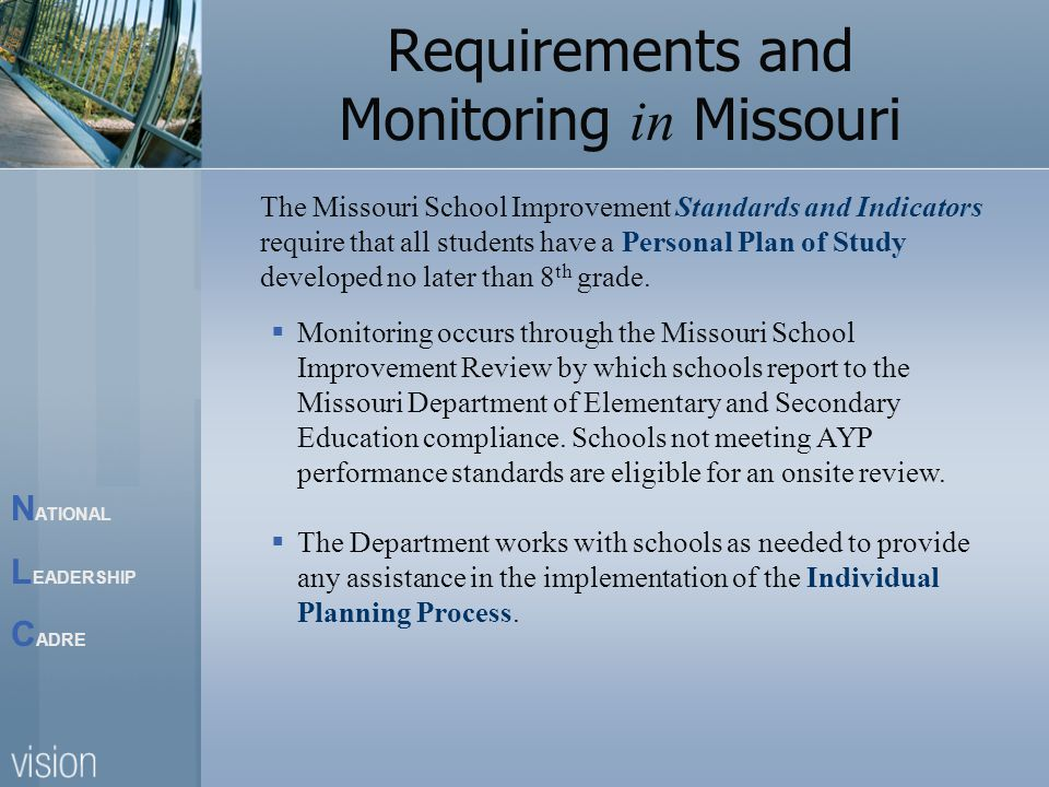N ATIONAL L EADERSHIP C ADRE Requirements and Monitoring in Missouri  Monitoring occurs through the Missouri School Improvement Review by which schools report to the Missouri Department of Elementary and Secondary Education compliance.