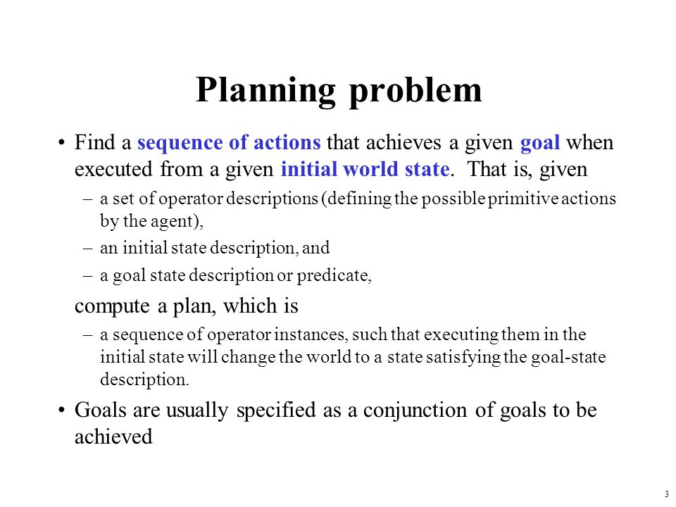 24 Plan-space planning An alternative is to search through the space of plans, rather than situations.