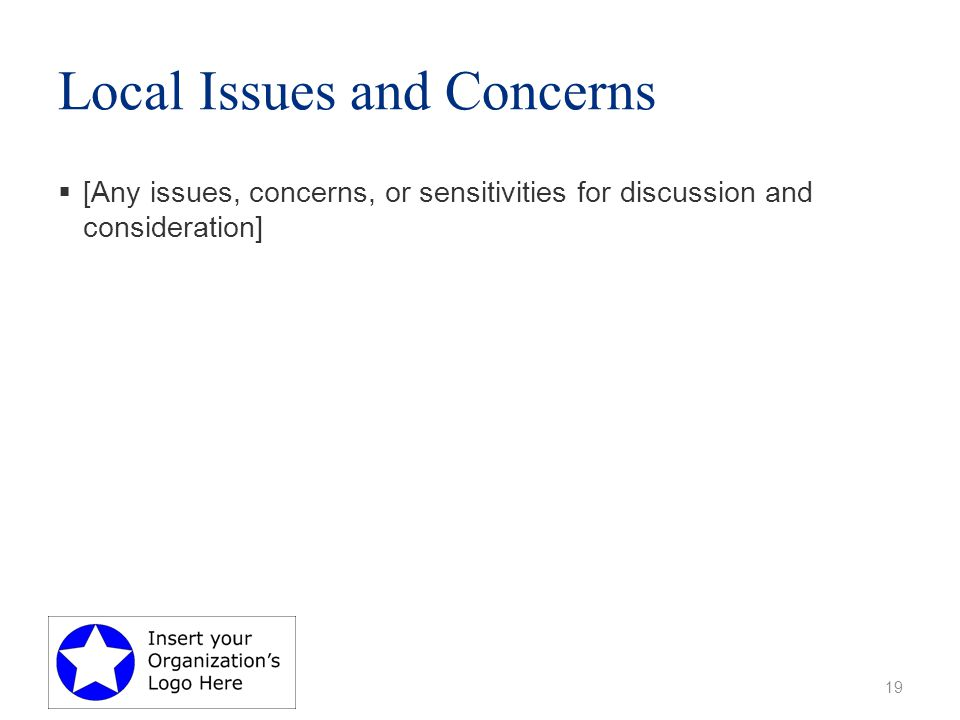 Local Issues and Concerns  [Any issues, concerns, or sensitivities for discussion and consideration] 19