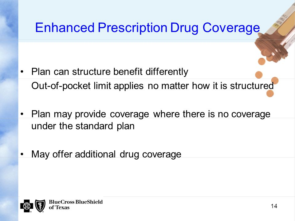 14 Enhanced Prescription Drug Coverage Plan can structure benefit differently Out-of-pocket limit applies no matter how it is structured Plan may provide coverage where there is no coverage under the standard plan May offer additional drug coverage