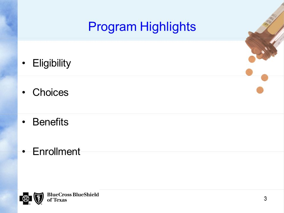 4 Eligibility for Medicare Part D- All Medicare Beneficiaries Entitled to Part A and/or enrolled in Part B Reside in plan's service area Must not be enrolled in another Medicare prescription drug Part D plan at the same time