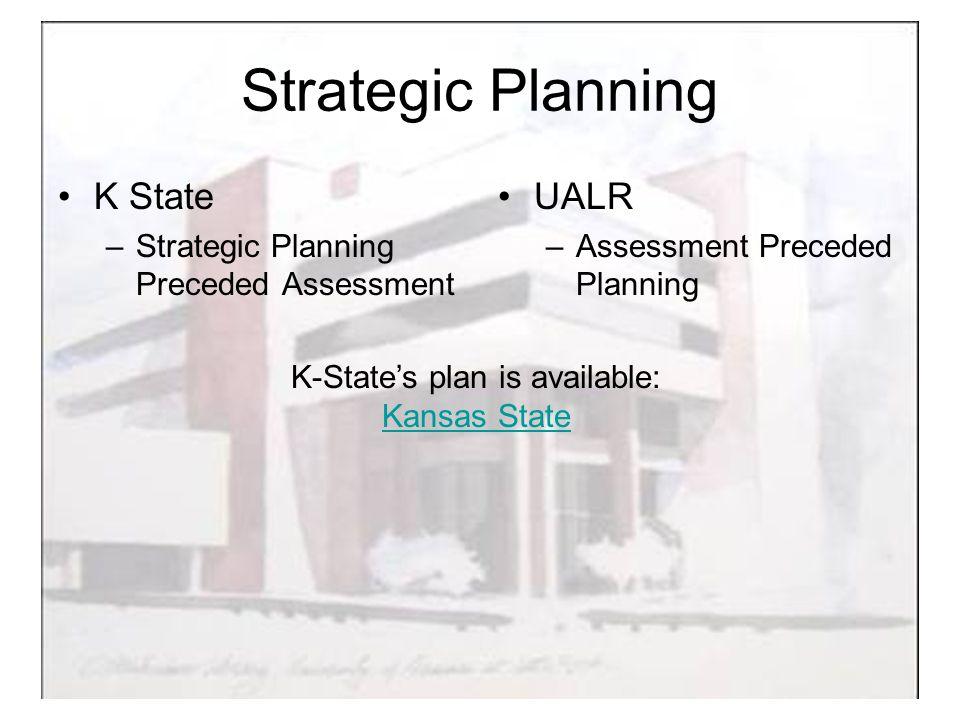 Strategic Planning K State –Strategic Planning Preceded Assessment UALR –Assessment Preceded Planning K-State's plan is available: Kansas State