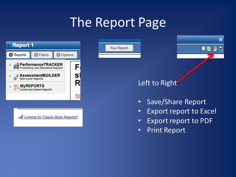 The Report Page Left to Right Save/Share Report Export report to Excel Export report to PDF Print Report