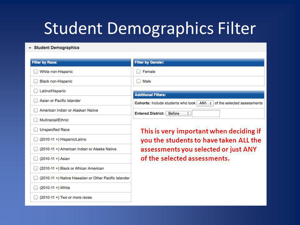Student Demographics Filter This is very important when deciding if you the students to have taken ALL the assessments you selected or just ANY of the