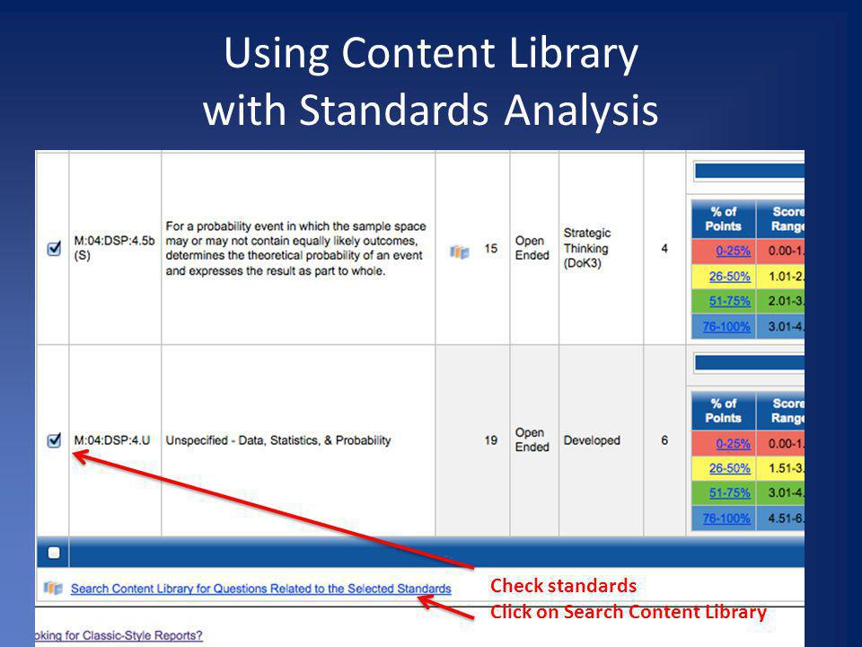 Using Content Library with Standards Analysis Check standards Click on Search Content Library