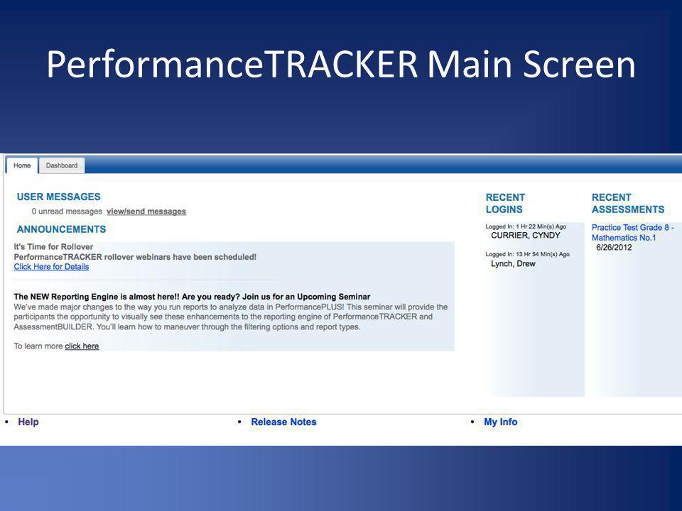 PerformanceTRACKER Main Screen