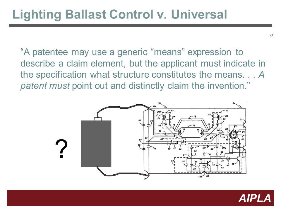24 AIPLA Firm Logo Lighting Ballast Control v. Universal 24 .