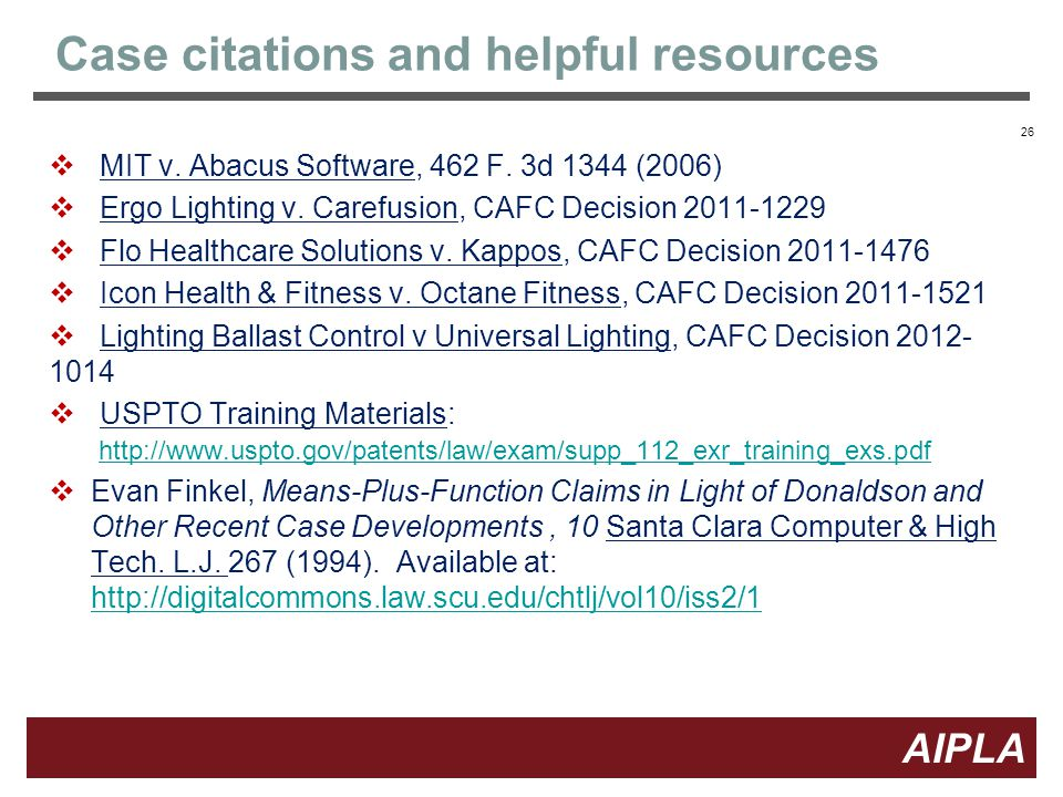 26 AIPLA Firm Logo Case citations and helpful resources  MIT v.