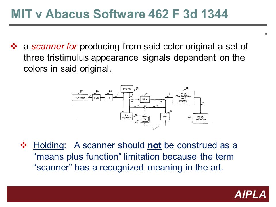 8 8 AIPLA Firm Logo MIT v Abacus Software 462 F 3d 1344  a scanner for producing from said color original a set of three tristimulus appearance signals dependent on the colors in said original.