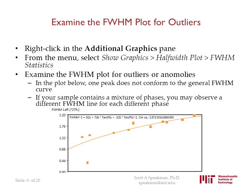 Examine the FWHM Plot for Outliers Right-click in the Additional Graphics pane From the menu, select Show Graphics > Halfwidth Plot > FWHM Statistics