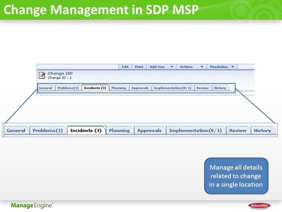 Change Management in SDP MSP Manage all details related to change in a single location