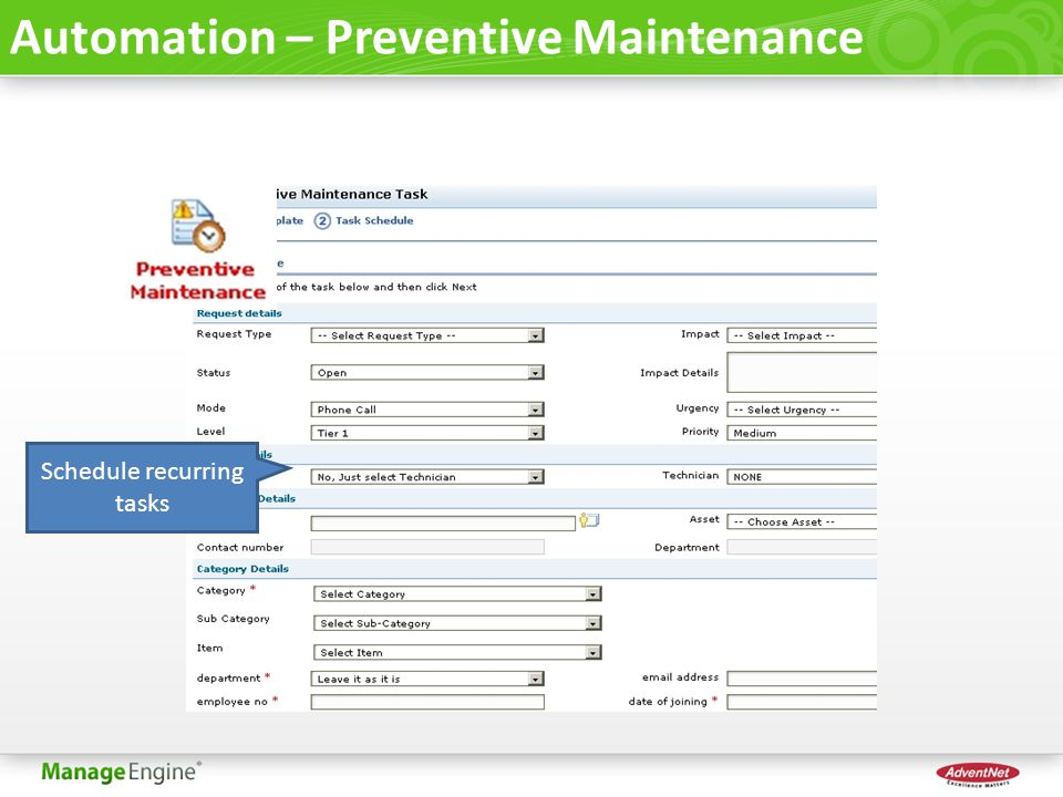 Automation – Preventive Maintenance Schedule recurring tasks