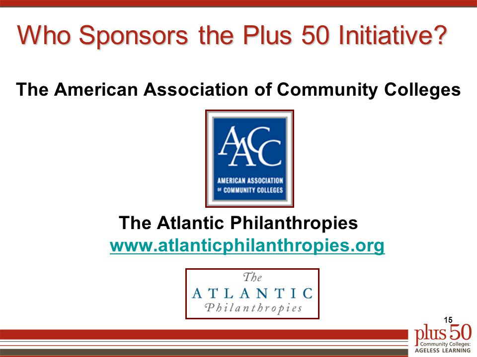 Who Sponsors the Plus 50 Initiative.