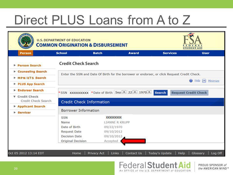 Direct PLUS Loans from A to Z 20 XXXXXXXXX