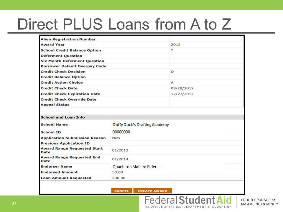 Direct PLUS Loans from A to Z 39