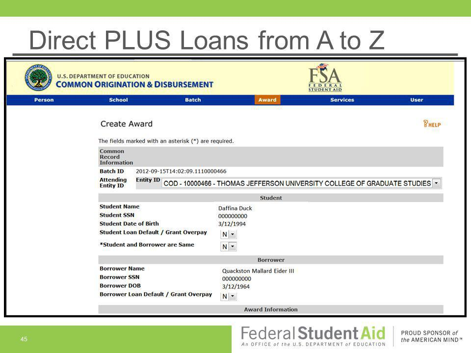 Direct PLUS Loans from A to Z 45