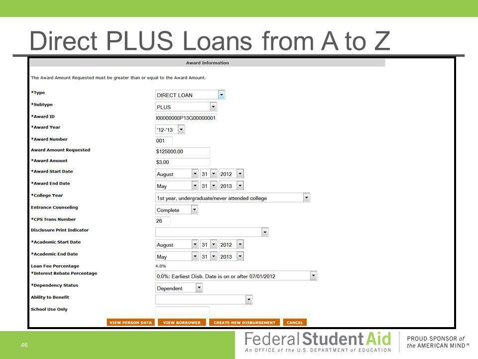 Direct PLUS Loans from A to Z 46