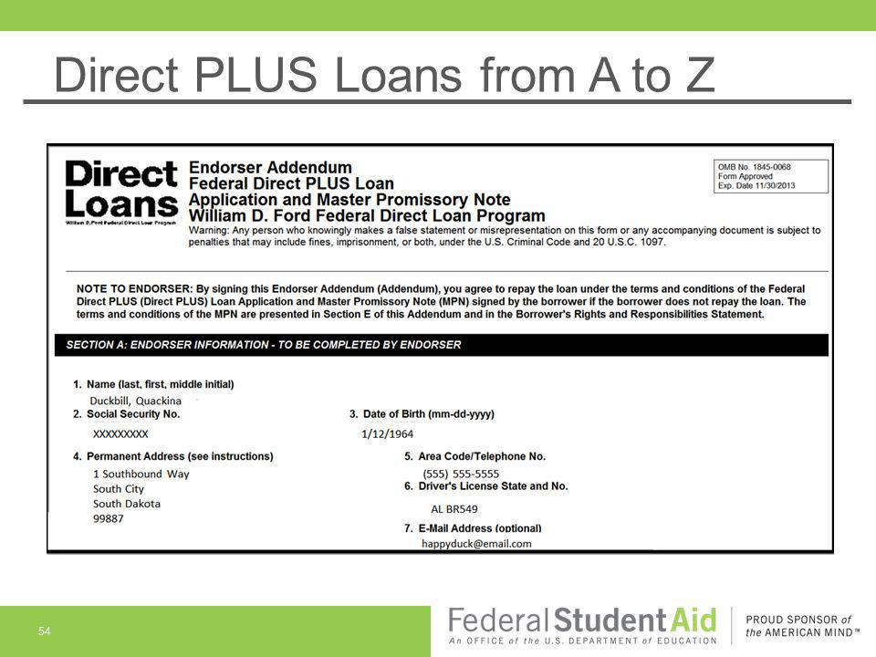 Direct PLUS Loans from A to Z 54