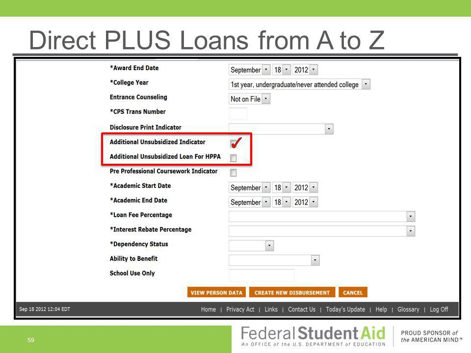 Direct PLUS Loans from A to Z 59
