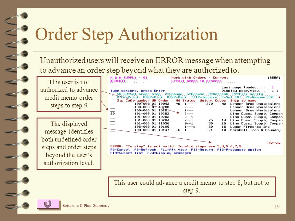 18 A maintenance function is provided to add or delete authorized users by order type Order Step Authorization Users authorized to advance order steps