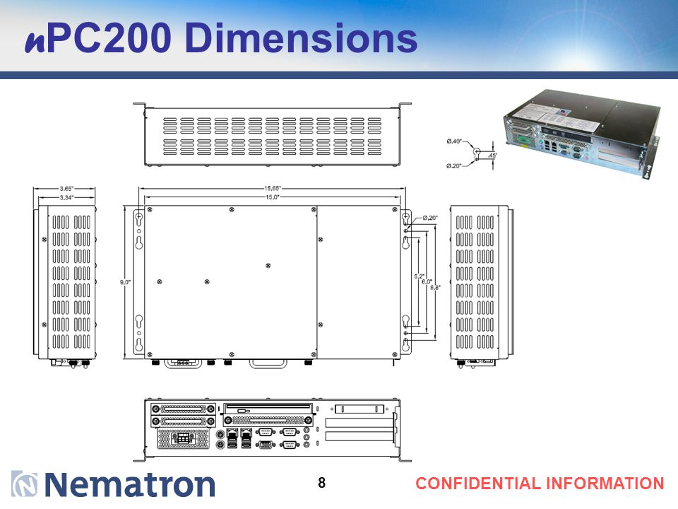 n PC200 Dimensions 8 CONFIDENTIAL INFORMATION