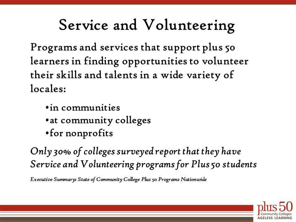 Service and Volunteering Programs and services that support plus 50 learners in finding opportunities to volunteer their skills and talents in a wide variety of locales: in communities at community colleges for nonprofits Only 30% of colleges surveyed report that they have Service and Volunteering programs for Plus 50 students Executive Summary: State of Community College Plus 50 Programs Nationwide