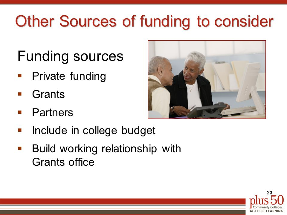 Other Sources of funding to consider Funding sources  Private funding  Grants  Partners  Include in college budget  Build working relationship with Grants office 23