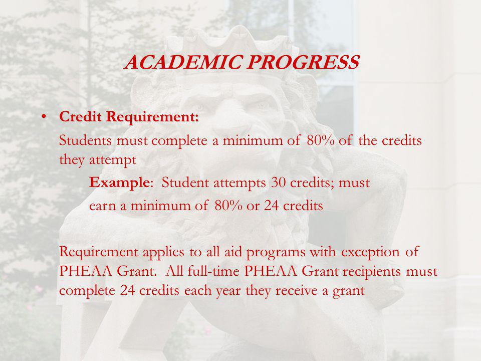 ACADEMIC PROGRESS Credit Requirement:Credit Requirement: Students must complete a minimum of 80% of the credits they attempt Example: Student attempts 30 credits; must earn a minimum of 80% or 24 credits Requirement applies to all aid programs with exception of PHEAA Grant.