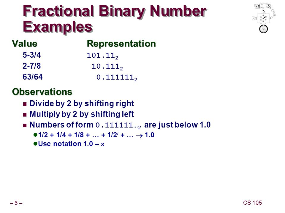 – 5 – CS 105 Fractional Binary Number Examples ValueRepresentation 5-3/4 101.11 2 2-7/8 10.111 2 63/64 0.111111 2Observations Divide by 2 by shifting