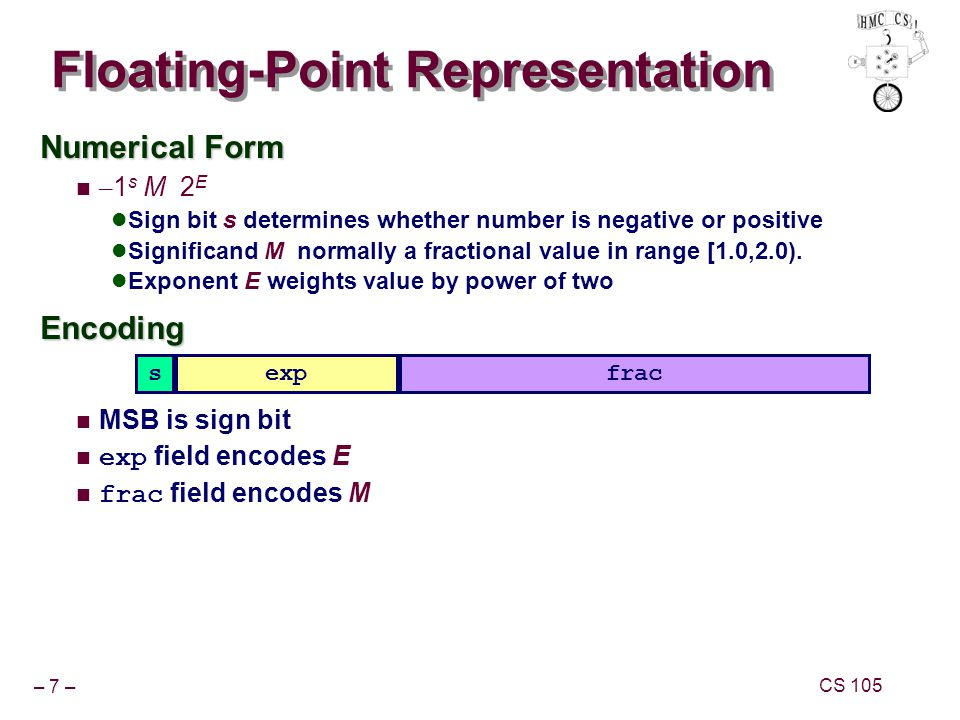 – 7 – CS 105 Numerical Form – 1 s M 2 E Sign bit s determines whether number is negative or positive Significand M normally a fractional value in rang