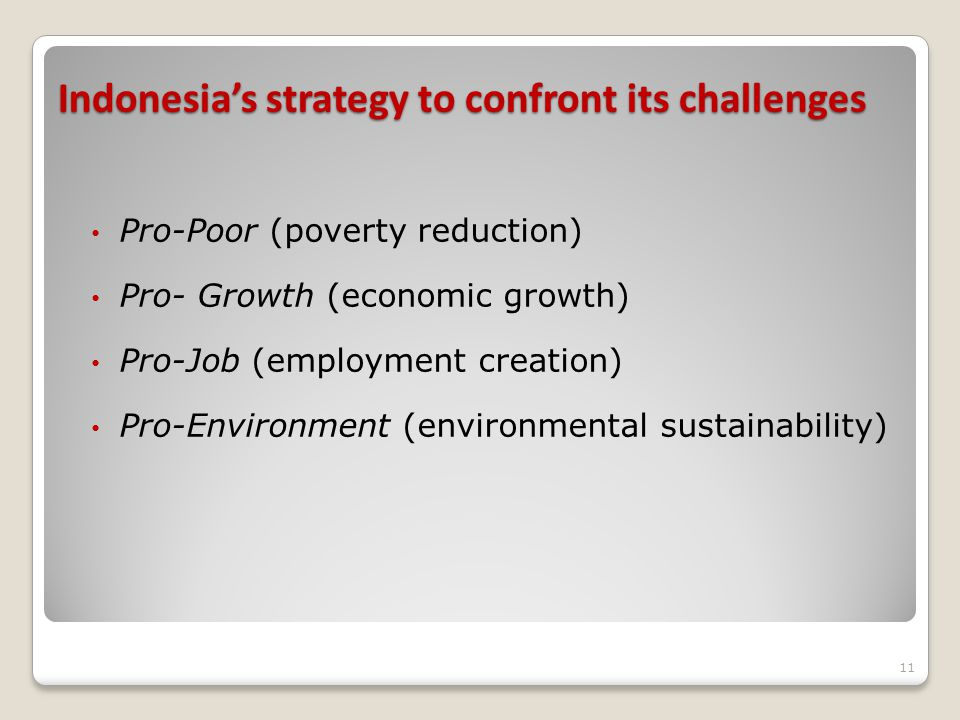 Indonesia's strategy to confront its challenges Pro-Poor (poverty reduction) Pro- Growth (economic growth) Pro-Job (employment creation) Pro-Environment (environmental sustainability) 11