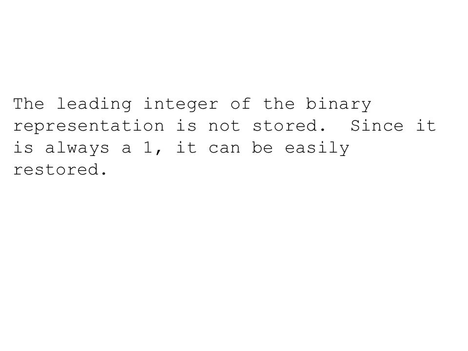 The leading integer of the binary representation is not stored.