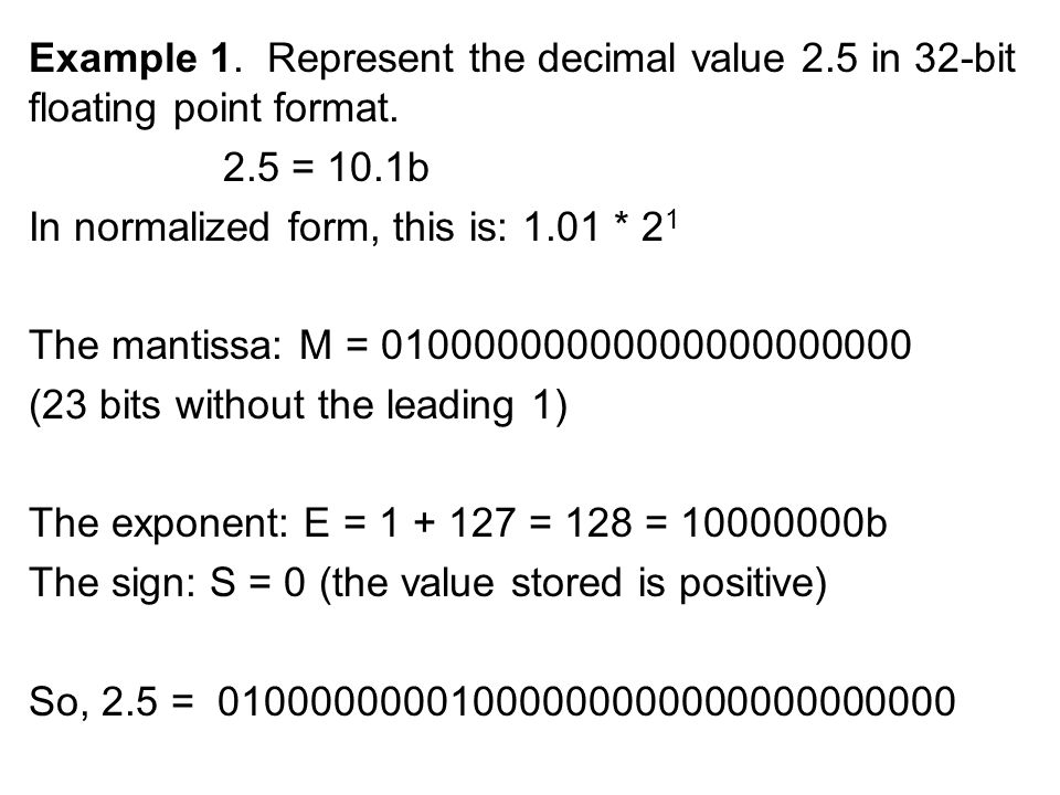 Example 1. Represent the decimal value 2.5 in 32-bit floating point format.