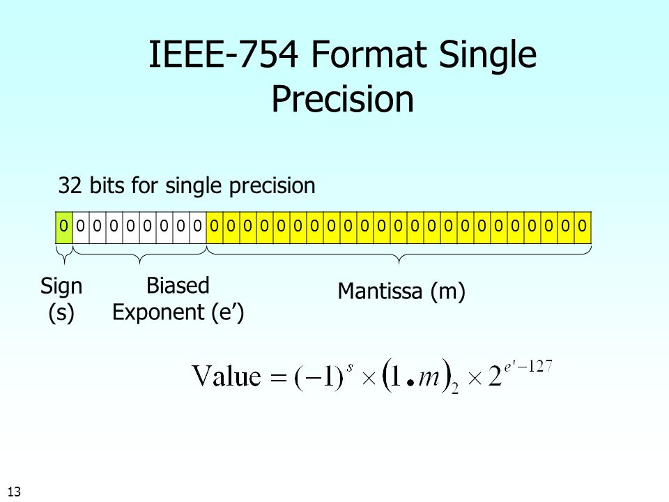 13 IEEE-754 Format Single Precision 32 bits for single precision Sign (s) Biased Exponent (e') Mantissa (m)